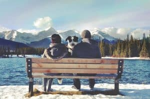 woman, dog and man sitting on bench. mountains and lake surrounding them