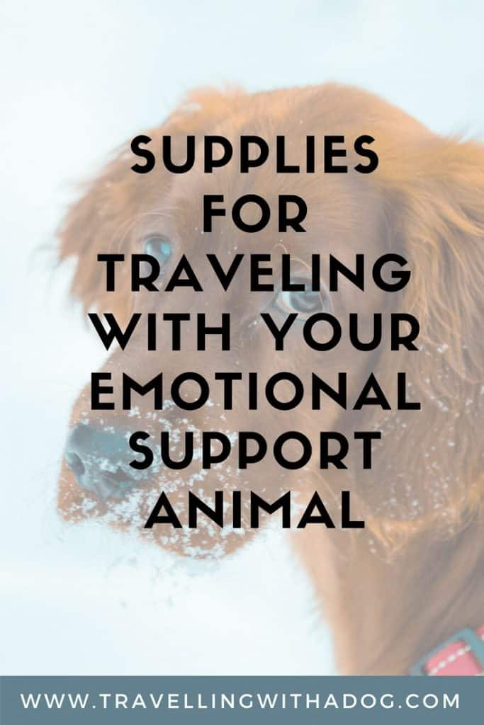 image with text overlay: supplies for travelling with your emotional support animal