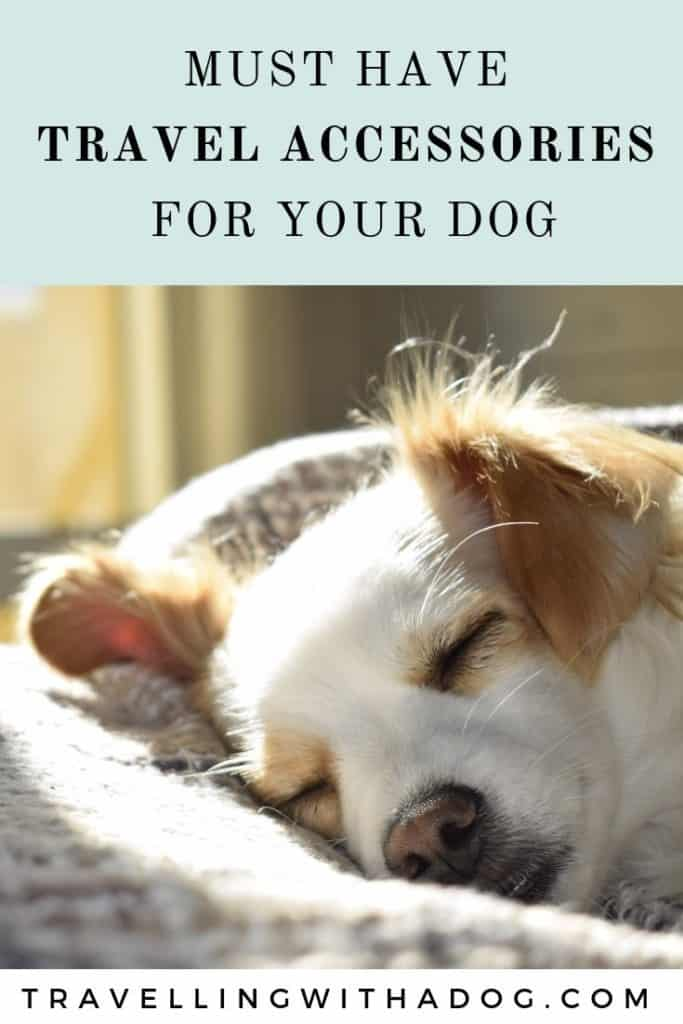 image with text overlay: must have travel accessories for your dog