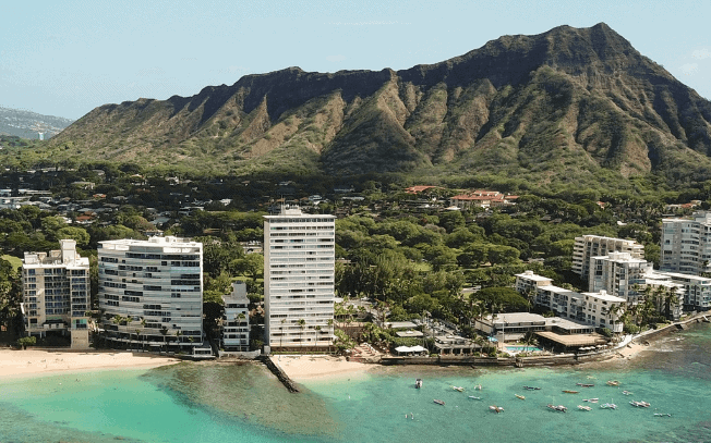 Shot of Hawaii. Pictured: hotels, buildings, volcano and ocean
