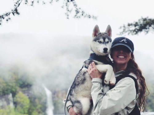 Girl holding husky and smiling