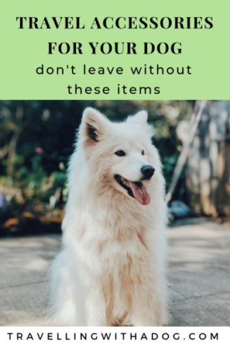 image with text overlay: travel accessories for your dog: don't leave without these items