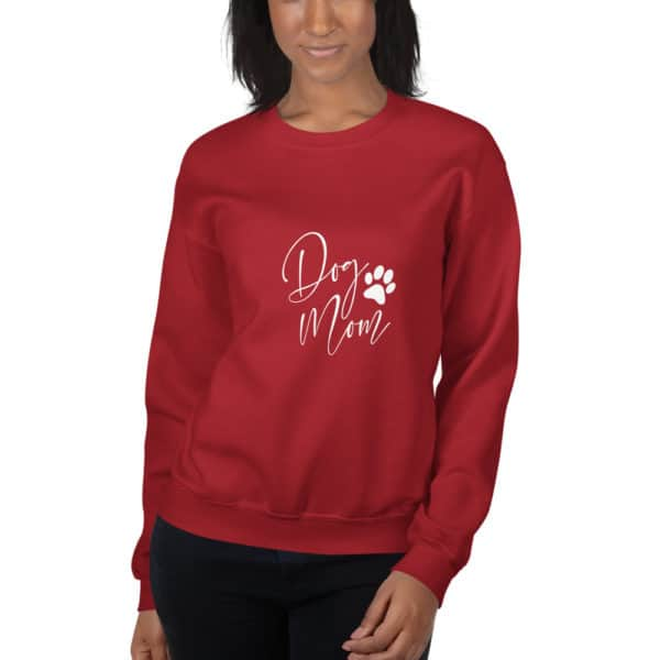 "red ""dog mom"" sweater"