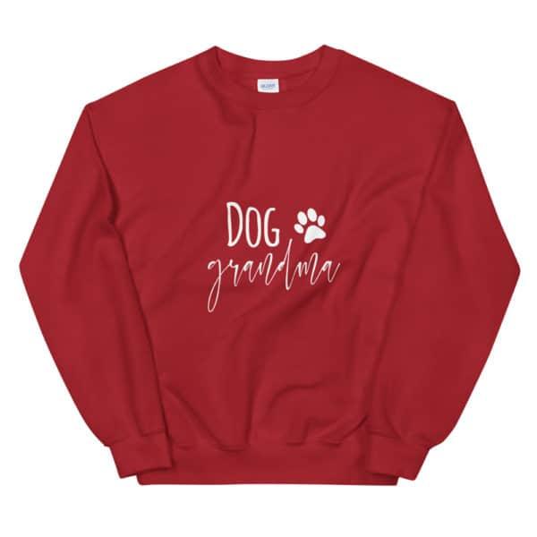 "red ""dog grandma"" sweater"
