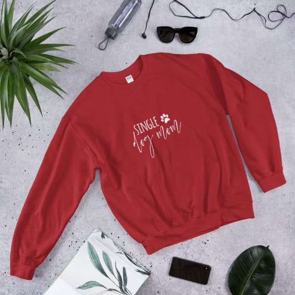 "red ""single dog mom"" sweater"