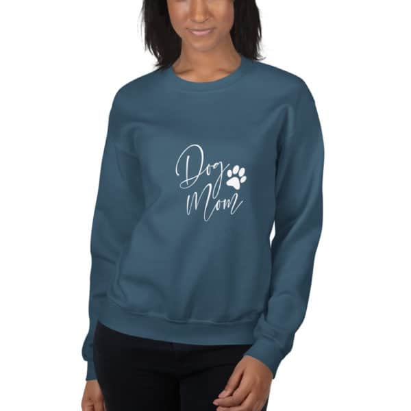 "teal ""dog mom"" sweater"