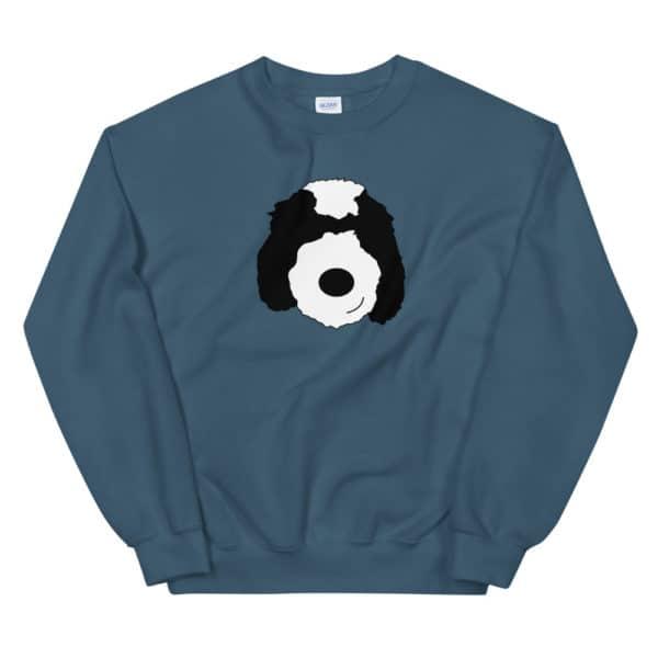 dark teal sweater with cartoon dog face