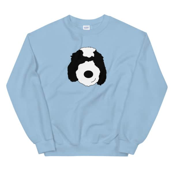 blue sweater with cartoon dog face