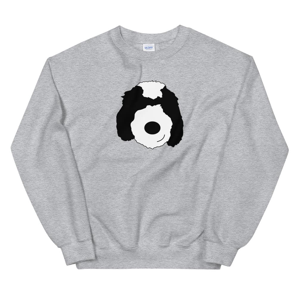 grey sweater with cartoon dog face