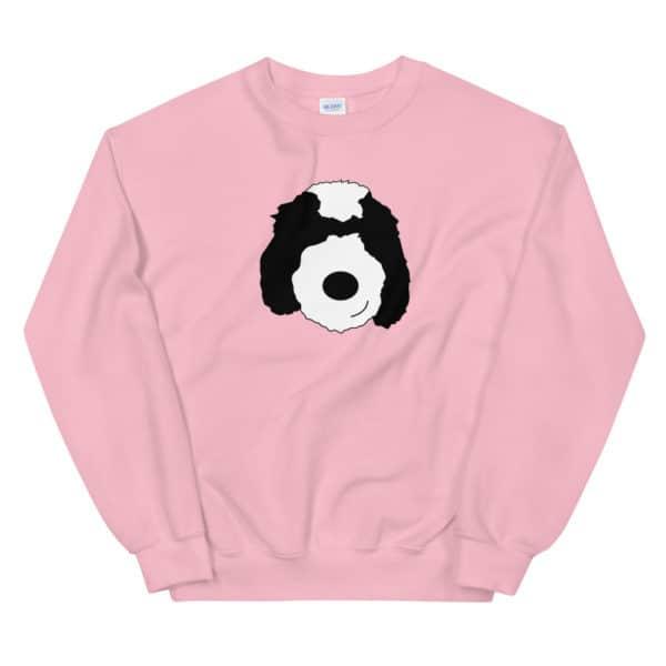pink sweater with cartoon dog face