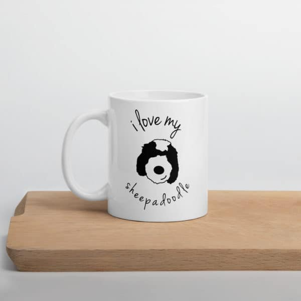 coffee mug with picture of dog's cartoon face