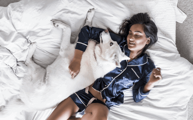 Girl laying in bed with white dog