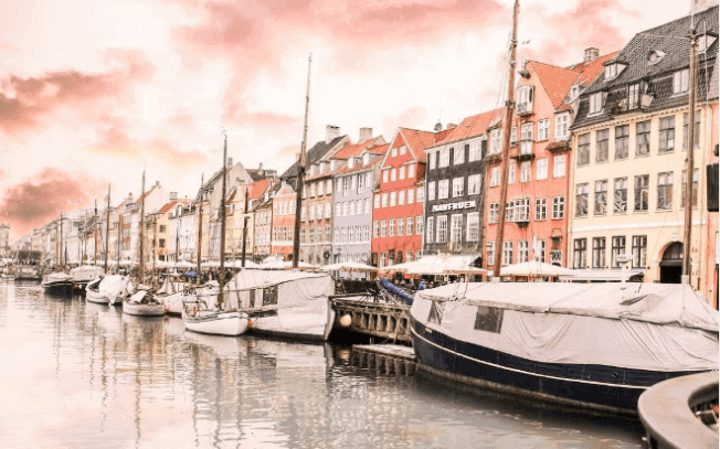 A harbor with colorful buildings and boats