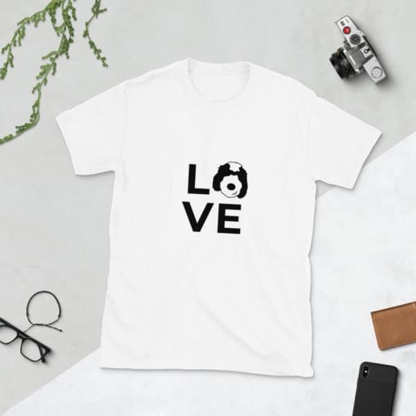 "t-shirt with LOVE on front. The ""o"" is a dog's face"