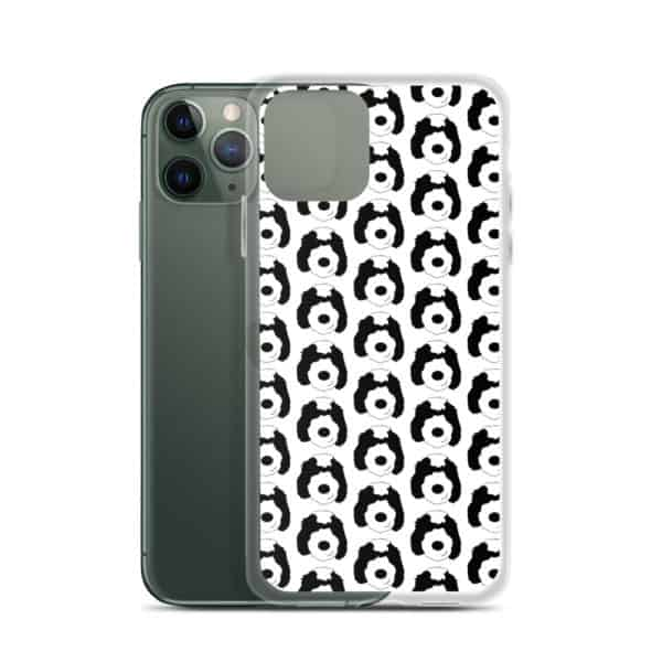iphone case covered in cartoon sheepadoodle faces