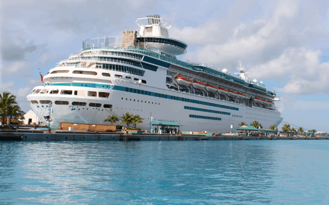A cruiseship in the water